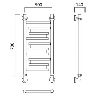 Водяной полотенцесушитель Роснерж Нео 2 L109000 70x50