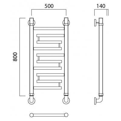 Водяной полотенцесушитель Роснерж Нео 2 L109000 80x50