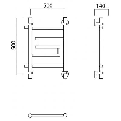 Водяной полотенцесушитель Роснерж Нео 2 L109001 50x50 с боковым подключением