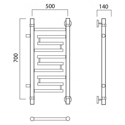 Водяной полотенцесушитель Роснерж Нео 2 L109001 70x50 с боковым подключением