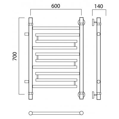 Полотенцесушитель Роснерж Нео 2 L109001 70x60 с боковым подключением