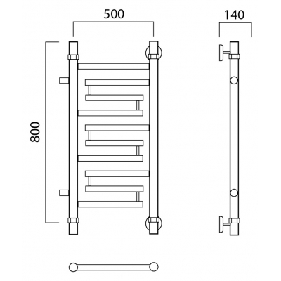 Водяной полотенцесушитель Роснерж Нео 2 L109001 80x50 с боковым подключением
