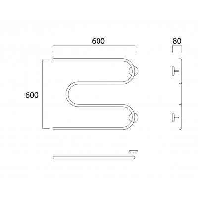Водяной полотенцесушитель Роснерж М образный M101000 60x60