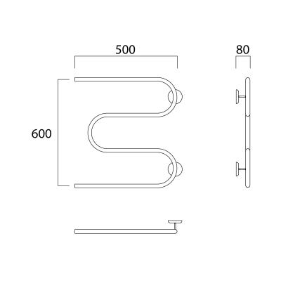 Водяной полотенцесушитель Роснерж М образный с полкой M101100 60x50