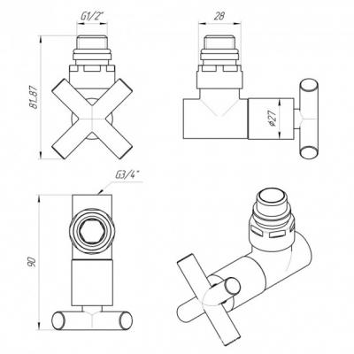 "Кран для полотенцесушителя угловой крестовой 1/2""х3/4"" Luxon ZZ-4704"